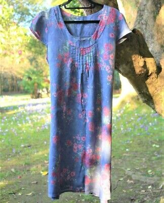 30f5c78f6a Made in Italy lagenlook dress size S   M 10 12 14 blue floral print linen
