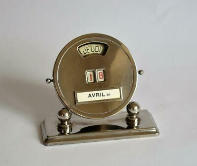 VERY STYLISH 1930s FRENCH ART DECO CHROME PERPETUAL DESK CALENDAR