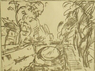Ulrich Hubner rare pencil signed expressionist lithograph engraving 1920's