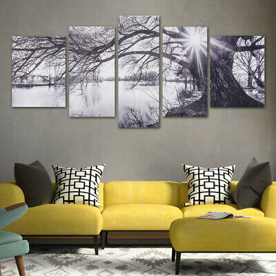 Modern Abstract Decorative Black and White Sun Paintings Pictures Canvas Wall