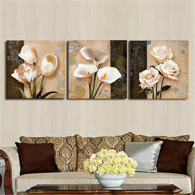 3Pcs Orchid Rose Flower Combination Painting On Canvas Frameless Drawing Home