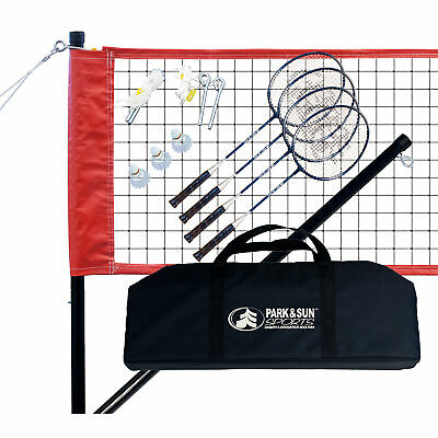 Park & Sun Sports Portable Outdoor Badminton Net System with Accessories, Red
