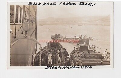Spain Tenerife Locals Servicing Cruise Ship Real Photo Postcard 1914 - 20