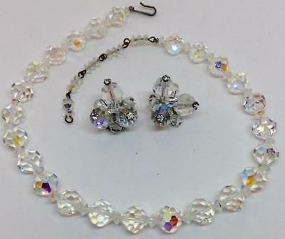 Antique Vtg AB faceted cut Crystal beaded strand necklace & earring Set