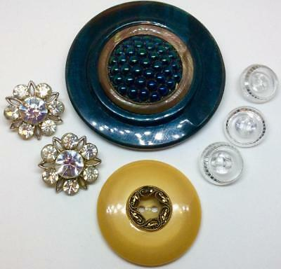 "Lot Vtg buttons HUGE 3"" peacock celluloid Rhinestones Lucite bakelite art deco"