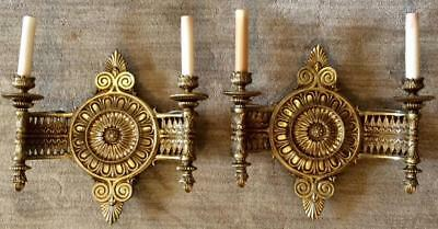 Pair of Early 1900's HEAVY Solid Brass Antique Wall Sconces Federal french Lamps