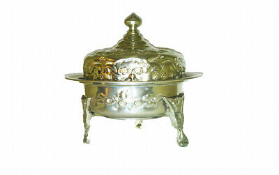 Antique Engraved & Carved copper Plated Brass Lidded container bowl Centerpiece