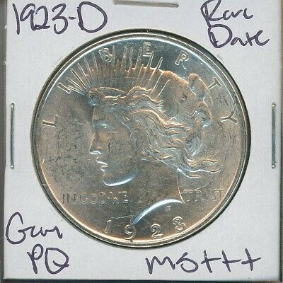 1923-D Peace Dollar Rare Date Uncirculated US Mint Coin PQ Gem Silver Coin MS+++