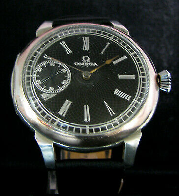 OMEGA Antique 1913 Mens Large Silver Wristwatch Deco Metal Dial