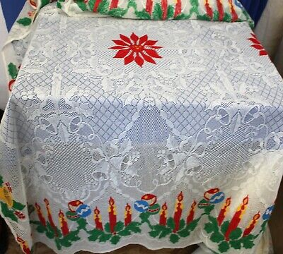 "Vintage  Christmas Holiday Tablecloth Rectangular Red Pointsettas 104"" x 60"""
