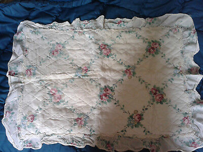 Vintage linen  frilled quilted pillowcase, floral patterned & satin type finish