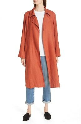 f63d91730a NWT EILEEN FISHER Rust Orange Organic Linen Long Duster Trench Coat Jacket  LARGE