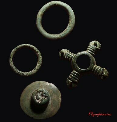 LOT of 3 Ancient CELTIC Bronze  PROTOMONEY & TRISKELES BUTTON