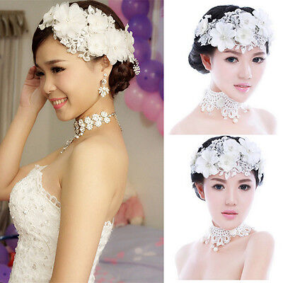 Wedding Bride Lace Pearl Headwear Bridal Flower Hair Clip Vintage Headdress AU