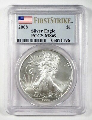 2008 AMERICAN EAGLE Silver Bullion $1 Coin ~ PCGS MS69 FIRST STRIKE