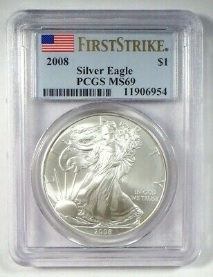 2008 AMERICAN EAGLE Silver Bullion Coin • PCGS MS69 FIRST STRIKE