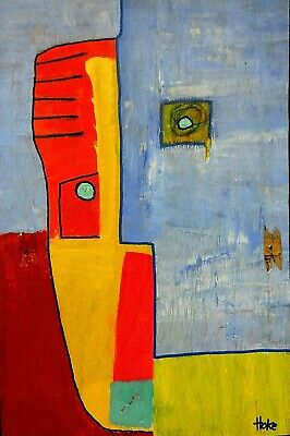 BLUE MOON Hoke Outsider Painting Abstract Art Brut RAW Vision Original SIGNED