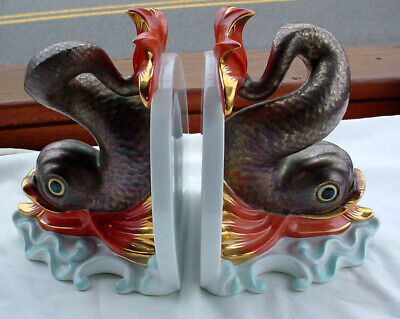 Exquisite Herend # 5260 Hungary Fine Porcelain Dolphin / Koi Fish Bookends N/r
