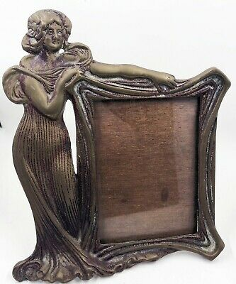 """Vintage Brass Art Deco Picture Frame Stylish Woman Metal Easel Back 9"""""""