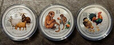 LOT OF 3 x 1oz SILVER 2015 2016 2017 AUSTRALIA LUNAR YEAR OF GOAT MONKEY ROOSTER