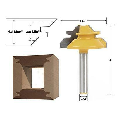 Drill Pro Small Lock Miter Router Bit 45 1/2 Inch Shank Tenon Cutter for DB