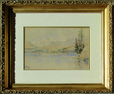 LISTED William Sharp OLD Impressionist Mountain Lake Watercolor Painting NO RES.