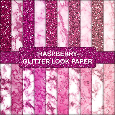 RASPBERRY GLITTER LOOK SCRAPBOOK PAPER - 20 x A5 pages.