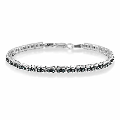 Sterling Silver 1ct TDW Color Treated Double-Link Diamond Tennis Bracelet (Blue,