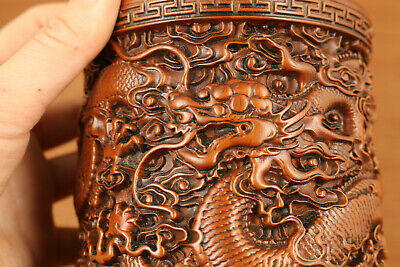old antique boxwood hand carved pair dragon statue brush pot home decoration