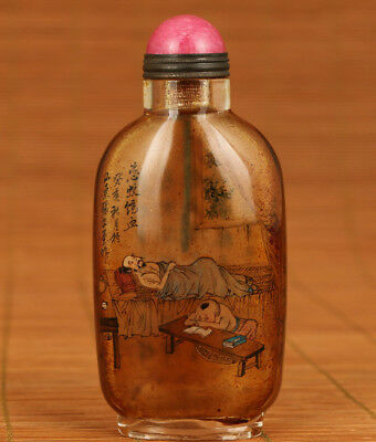 Antique Chinese Old Glass Hand Painting Impoverished study Statue Snuff bottle