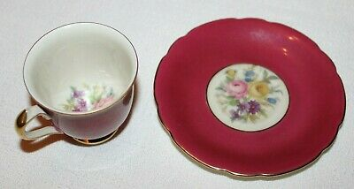 KPM/Loyal Ivory Germany Floral Miniature Cup/Saucer Set Burgundy Red/Gold