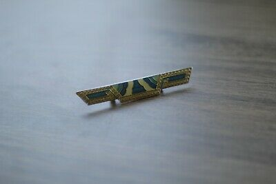Vintage Art Deco Enamel Brooch with Blue and Gold Geometric Details