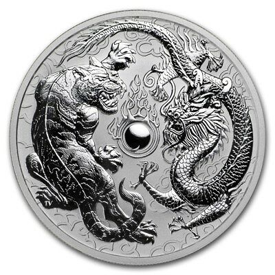 Wow~ 2018 ~ Perth Mint ~1~Oz  Silver ~ Dragon & Tiger ~ Reverse Proof Gem ~$9.99