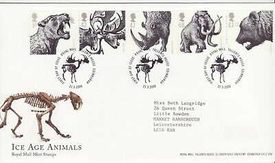 GB Stamps First Day Cover Ice Age Animals, deer, mammoth SHS Skeleton 2006