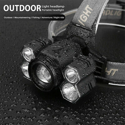 Zoomable LED Headlamp Rechargeable Headlight CREE XML T6 Head Torch B