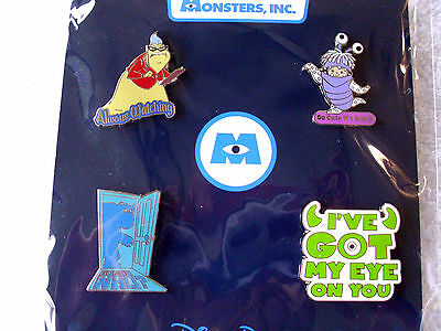 Disney * MONSTERS INC * 4 pin BOOSTER Set - New In Pack - Boo Roz Mike Sulley