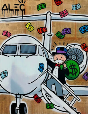Alec Monopoly Oil Painting on Canvas Graffiti art decor Private Airplane 28x40""