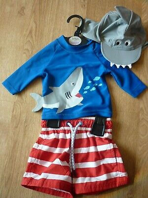 BNWT M&S Baby Boy 3-6 months Shark UV Protective Sun suit and Hat SPF50+ RRP £20