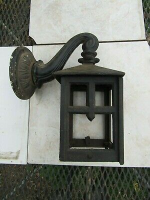 Old Cast Iron Outdoor Arts & Crafts Light Fixture