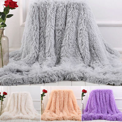 Faux Fur Warm Shaggy Cover Blanket Long Pile Throw Super Soft Sofa Bed