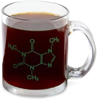 Caffeine Molecule Coffee Tea Hot Chocolate Thick Heavy 1Lb Glass Mug Cup Office
