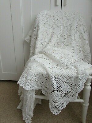 Large Vintage French Lace Hand Crochet White Bedspread / Throw 102 x 84 inches
