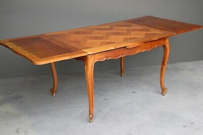 Antique French Louis XV provincial cherrywood dining table parquetry top carved