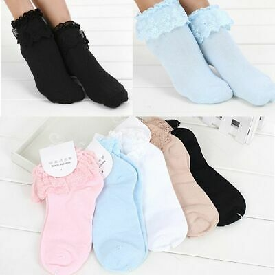 Girls Cute Sweet Women Ladies Vintage Lace Ruffle Frilly Ankle Sock LX