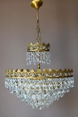 antique crystal chandelier vintage brass lamp home and living 1950's lighting