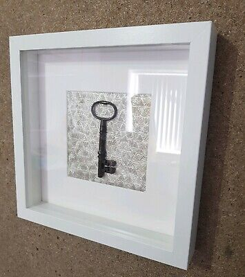 Old Antique Keys New White Box Framed Wall Art Display Home Decor Rustic Vintage