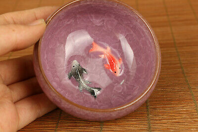 Chinese old porcelain hand carving two fish tea cup bowl home decoration