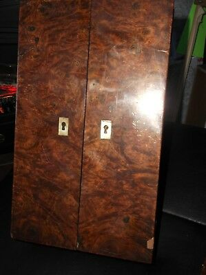 Rare Antique Walnut Small Travel Writing Slope Mop Keyholes Lyre Stand + Drawer