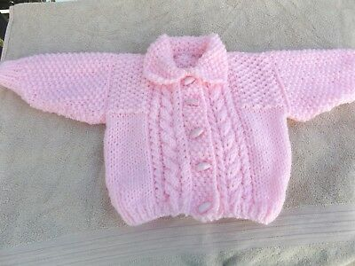 Brand New Hand Knitted Baby Girls  Pink Aran Cardigan With Collar