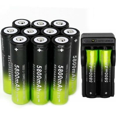 10pcs 5800mAh SKYWOLFEYE 18650 Battery 3.7v Li-ion Rechargeable Batteries #